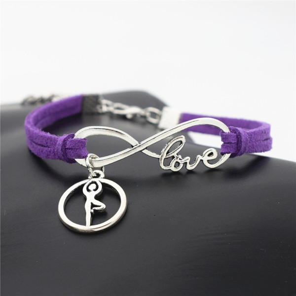 Antique Silver Alloy Infinity Love Ballet Gymnastics Posture Chakra Yoga Charm Bracelets Fashion Purple Leather Rope Cuff Women Men Jewelry