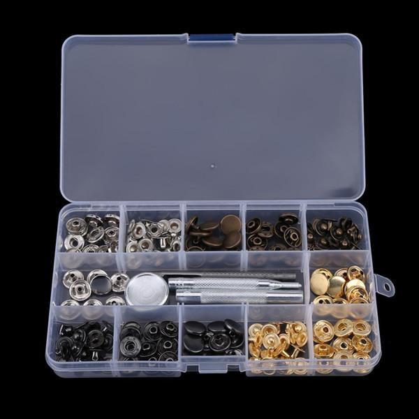 40 Sets Button-Einstellwerkzeug Button-Popper-Verschluss Druckknopfverschluss mit Einstellwerkzeug für Kleidungsjacken-Snap-Verschluss