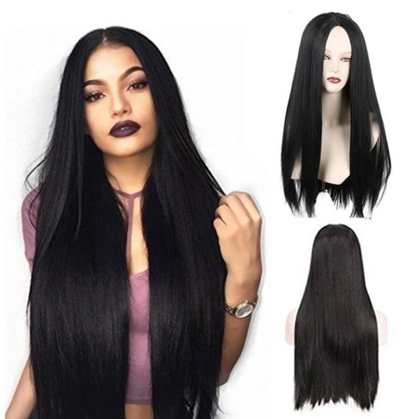 Top Quality 26inch Black Wig Glueless Long Synthetic Lace Front Wigs With Baby Hair 180% Density Heat Resistant Natural Cheap Wigs For Women