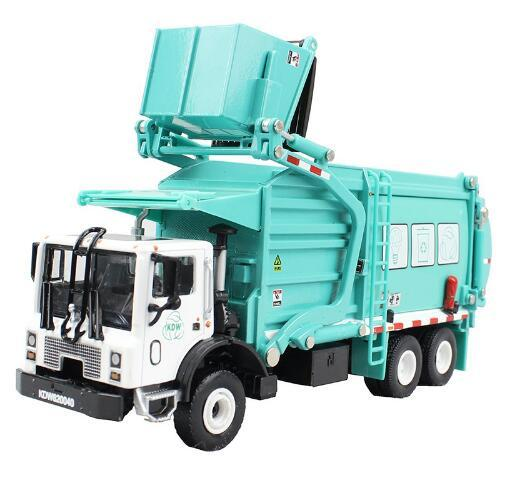 Alloy Diecast Barreled Garbage Carrier 1:24 Waste Material Transporter Vehicle Metal Model Hobby Toys For Kids Christmas Gifts