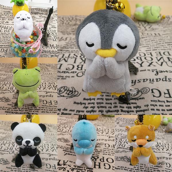 Nuevos 6 estilos 8 cm Muñeca Rana Muñeca Panda Rana Pingüino Animales de peluche Deseando juguetes de peluche Colgante Llavero Niños Juguetes 3132