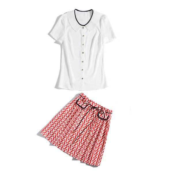 2019 Summer Fall Short Sleeve Crew Neck Pleated Blouse + Ribbon Tie Bow Knee-Length Skirt Runway Two Piece 2 Pieces SetJL0922JYJ