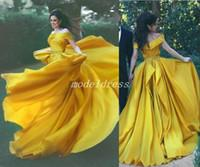 top popular Luxury Zuhair Murad Crystal Dresses Evening Wear 2019 Dubai One Shoulder Rhinestone Formal Gowns Muslim Long Sleeve Gold Prom Dresses 2021