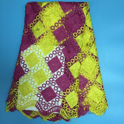 J44 Frete Grátis (5 metros / pc) Duas Cores Africano Tecido de Renda Guipure Fushia África Cord Lace Tecido Para Vestido de Alta Qualidade