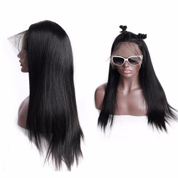 360 Dantel Frontal Peruk İnsan Saç Bebek Saç Ile Orta simülasyon İnsan saç Peruk uzun ipeksi düz doğal renk siyah kadınlar için tam peruk