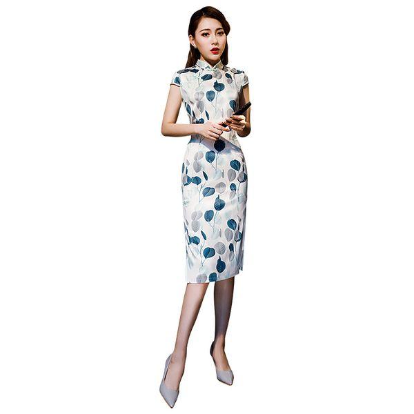 Manica corta in stile cinese al ginocchio Maniche vintage Qipao Classic Stage Show Elegante cheongsam femminile M-3XL