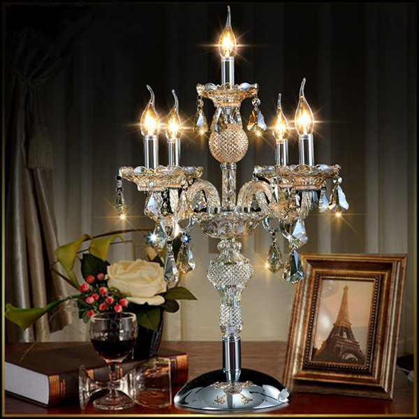 European fashion 5 lights candle crystal table lamp bedroom lamp cognic color E14 E12 K9 crystal deak Table light home Wedding decor