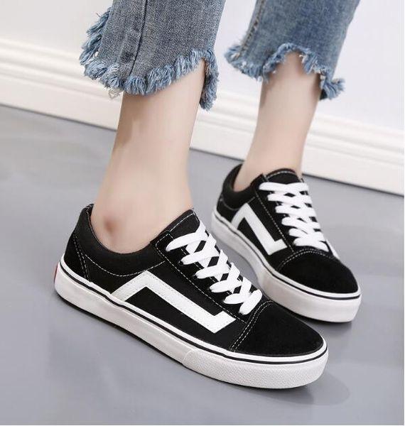 2019 Klassische Schwarz Weiß Männer Frauen Casual Flache Schuhe leinwand Schuhe Unisex Zapatillas Wanderschuhe 35-45