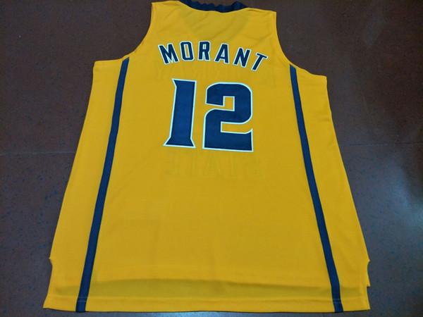 Männer Gelb Weiß Ja Morant # 12 Murray State College Echte Stickerei Jersey Größe S-4XL oder benutzerdefinierte jeden Namen oder Nummer Jersey