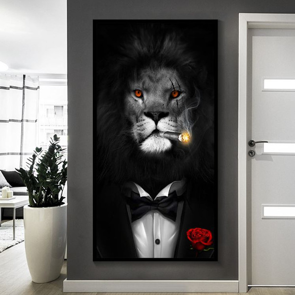 191003 boyamak Şapka Tuval giyerek Siyah Beyaz Klas Lion Tiger Fil Zürafa Kurt At Duvar Sanatı Resimleri Hayvan