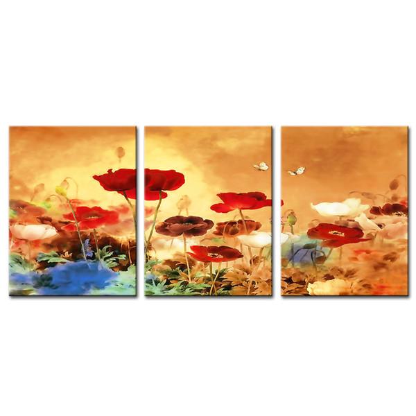 Çerçevesiz 3 Parça Tuval Duvar Sanatı Güzel Çin Krizantem Boyalar Çiçekler Duvar Boyalar Ev Oturma Odası Için Dekorasyon Resim