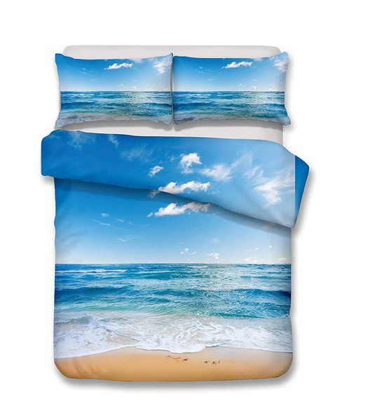 Beautiful beach 3D Bedding Set Print Duvet cover set Beautiful pattern Real effect lifelike bedclothes High-quality