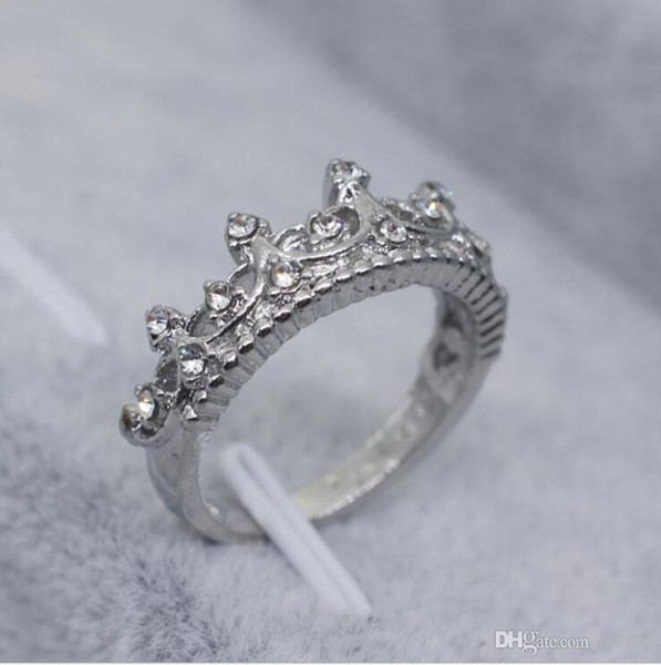 2018 Hot Sale Crown Crystals Finger Rings Alloy Women Jewelry Rings Accessories Size For 5 6 7 8 9 10