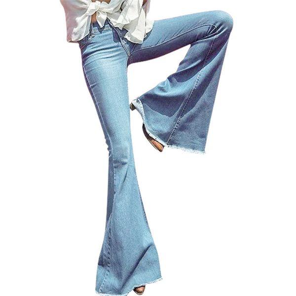 2018 ilkbahar sonbahar Geniş Bacak Sıkıntılı Flared Jeans Kadın vintage İnce Denim Giyim 2018 Vintage Çan Alt Kot 533 S19713
