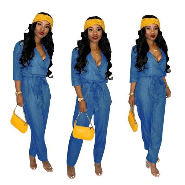 2019 Blue Soft Denim Jumpsuits Rompers Hot Sale 3/4 Sleeves V Neck Loose Jeans Outfits Women Casual Full Length Pants High Quality Fabric