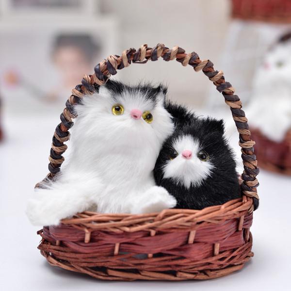 Piel artesanías decoración del coche regalo de cumpleaños para enviar amigos gato de simulación con canasta decoraciones para el hogar adornos de escritorio para dormir ca