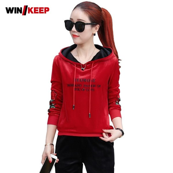 Spring New Women Running Sportswear Fitness Clothing Long sleeve Two Pieces Hooded Sport Set Jogging suit Flower embroidery
