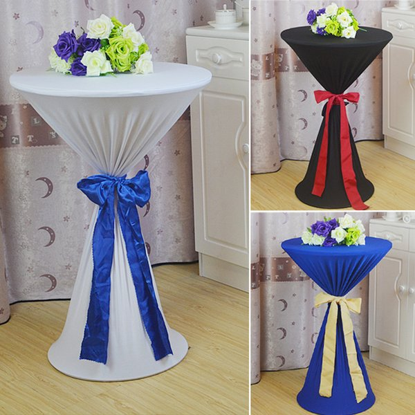 20 Colors Round Cocktail Table Cloths Stretch Table Covers For Bar Banquet Event Wedding 50CM 60CM 70CM 80CM 90CM Easy Wash Table Cloth