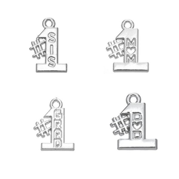 50PCS Vintage Charms Antique Silver Charm Dangle Number 1 MOM SIS Making For DIY Necklace Bracelet Charm Women Jewelry