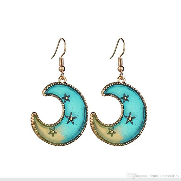 2019 New Fashion 18K Rose Gold Drop Earrings Retro Women Blue Moon Star Eardrop Galaxy 925 Silver Stud Earrings Jewelry E2557