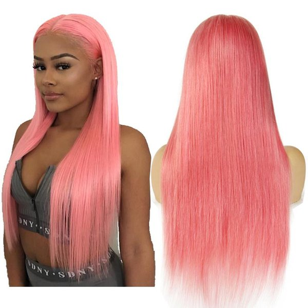 Pink Brazilian Lace Front Human Hair Wigs For Women Remy Hair Straight Full Lace Wigs With Baby Hair Pink
