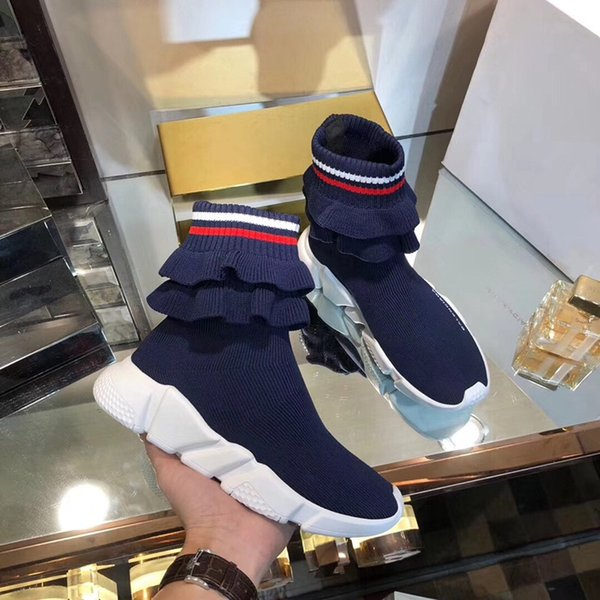 2019 Scarpe Designers Trainer di lusso del partito Nero Bianco Rosso calza altezza dei pattini delle donne degli uomini di moda Boots Triple Nero Casual Scarpe fz2019100502