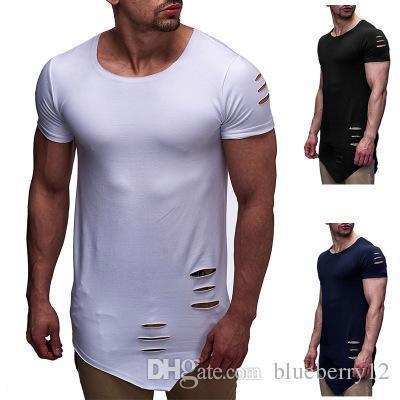 High Street Tee Мужская мода Нерегулярное отверстие под острым концом вокруг шеи Повседневная однотонная мужская футболка с коротким рукавом