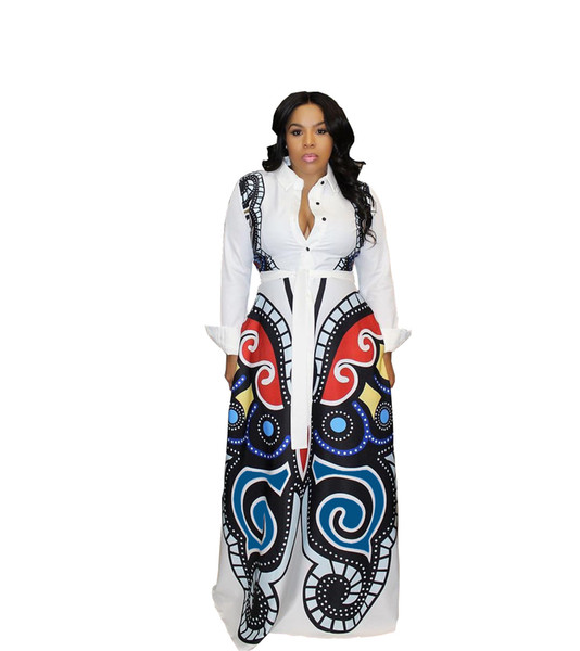 Butterfly Printed Casual Shirt Dress Summer Women Button Up Long Sleeve Fit And Flare Maxi Dress Spring Fashion Blouse