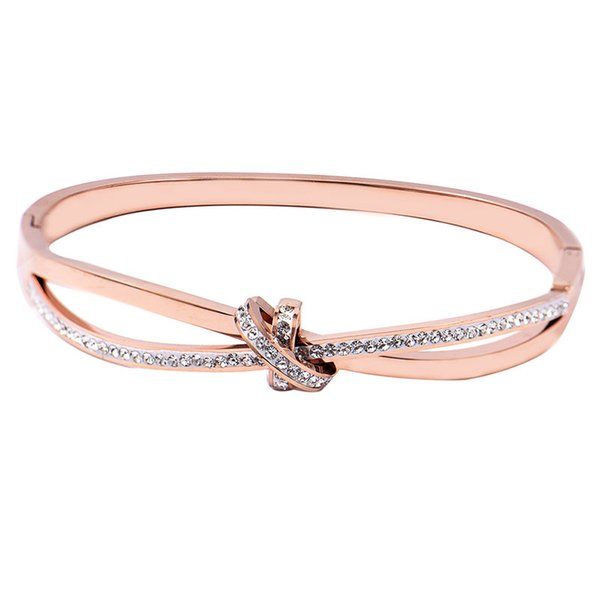 New Fashion Cross Bowknot New Stainless Steel Gold Elegant Women Bracelet Ancient Statement Jewelry Wholesale Dropshipped Charming Bangle