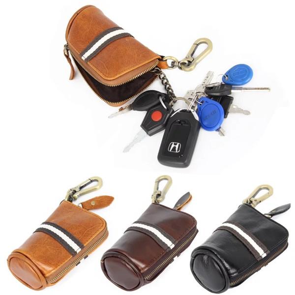 YAGO Mens Genuine Leather Key Wallets with Chains Mini Car Key Purse Clutch Bucket Wallet Key rings