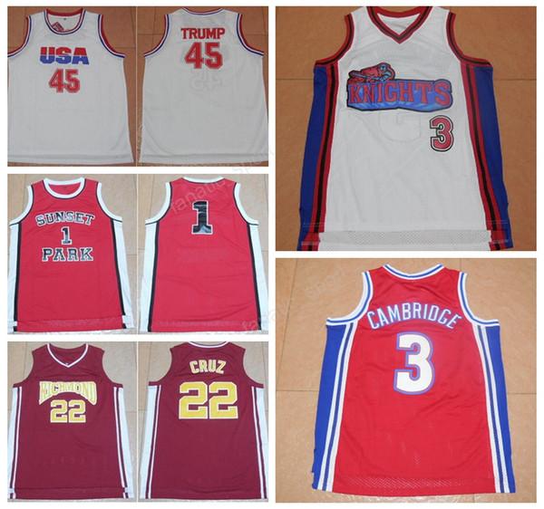 Usa Dream Team 45 Donald Trump Jersey Hollywood Richmond 22 Timo Cruz Película Camisetas de baloncesto Sunset Park 1 Fredro Starr Shorty