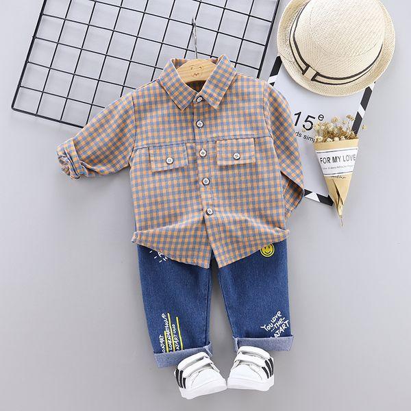 2019 Nova Primavera Crianças Meninos Meninas Dos Desenhos Animados Camisa De Lapela Jeans 2 Pcs / Conjuntos de Roupas Infantis Terno Moda Bebê Casuais fatos de Treino