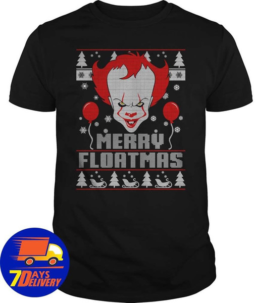 Merry Floatmas Pennywise The Clown It Ugly Christmas T-shirt nera da uomo S-3XL