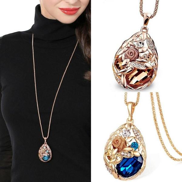 LNRRABC Flower 2016 Fashion Rhinestones Crystal Stone Vintage cheap Sweater Chain Women Long Pendant Necklace Jewelry