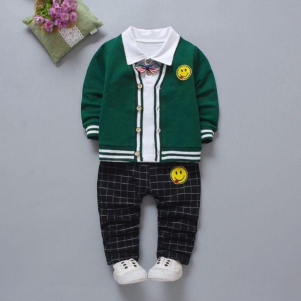Boa qualidade do bebê meninos roupas infantil crianças foraml cavalheiro 3  pcs conjuntos de roupas de 3a738785d2b