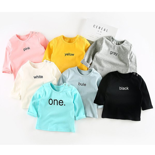Kids boys girls spring autumn t shirt baby letter printed cotton casual t-shirt newborn white gray yellow blue pink clothes 6-36