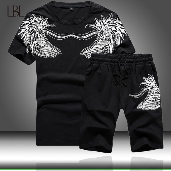 T-Shirts +Shorts Men Tracksuits Sporting Gym Slim Fitness Mens Sportwear Printed Elastic Waist Men's Sets Tops Shorts 2PC Sets