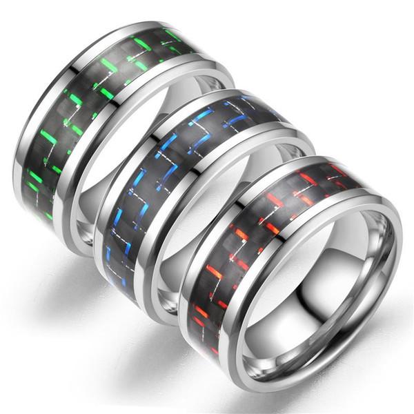 Anel De Fibra De carbono Anéis De Casamento Pretos Promise Anéis De Noivado Para Mulheres Dos Homens do Amor dos homens jóias anéis de jóias de luxo