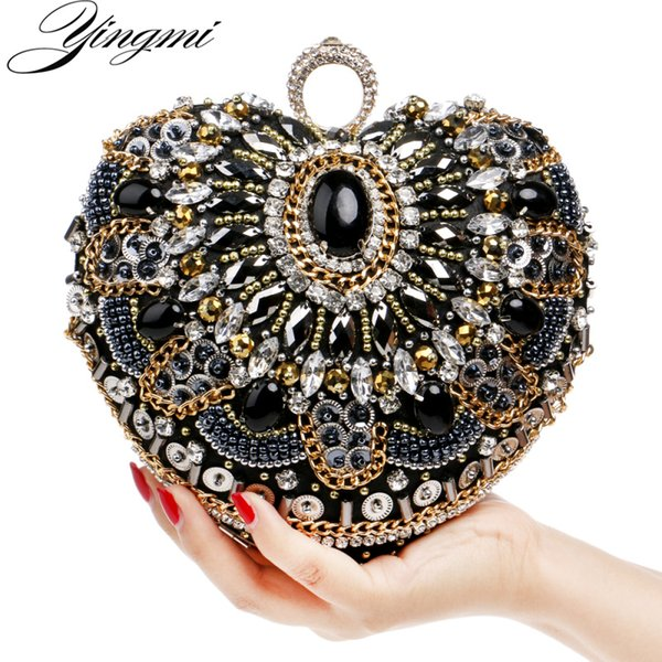 YINGMI Handmade Style Beaded Women Evening Bags Diamonds Embroidery Lady Clutches Chain Shoulder Purse Bags Heart Design Wallets