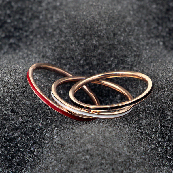wholesale High quality ultra fine version 1mm black and white red ring fashion titanium steel plated rose gold ladies men's ring