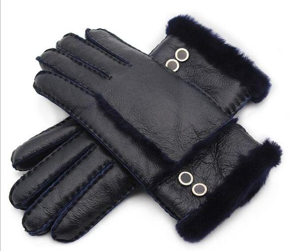 high-quality New women's gloves fur in winter women warm mittens gloves netural sheep fur hand-made wool sheepskin