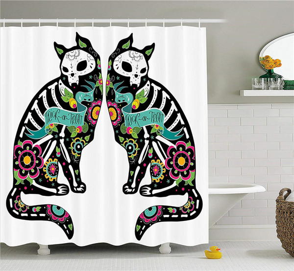 Day of The Dead Decor Shower Curtain, Skeleton Cats Festive Celebration Spanish Art Print, Fabric Bathroom Decor Set with Hooks, 70 Inches
