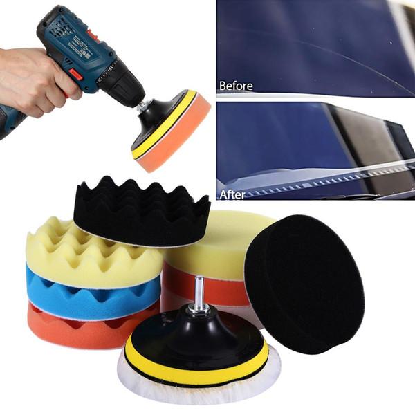 "7 Pc 3/"" Polishing Sponge Pad 1//4/"" Drill Adapter Kit Car Auto Polisher Buffer Kit"