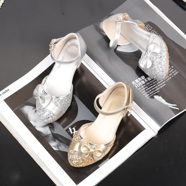 Lovely Gold Silver Flower Girls' Shoes Kids' Shoes Girl's Wedding Shoes Kids' Accessories SIZE 26-37 S321030
