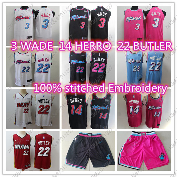 best selling Cheap News dwayne 3 wade Jimmy 22 Butler Miamis city Heats 14 Tyler Herro stitched jersey game player's basketball jerseys