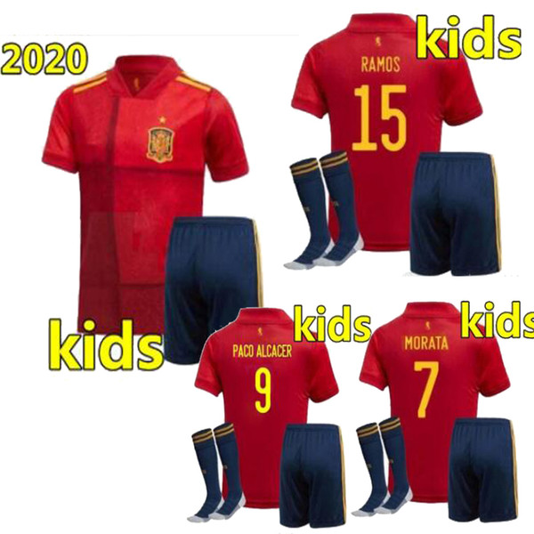 top popular Size 16-28 2020 spain kids kit European Cup A.INIESTA Ramos home away soocer jersey SERGIO isco Youth camiseta de fútbol football shirt 2020 2020