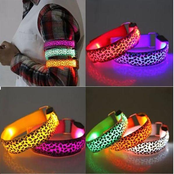 Segurança LED Braçadeira Reflexiva Zebra Impressão Bicicleta Piscando Sports Arm Band LED Flash Strap Aviso Noite wn576