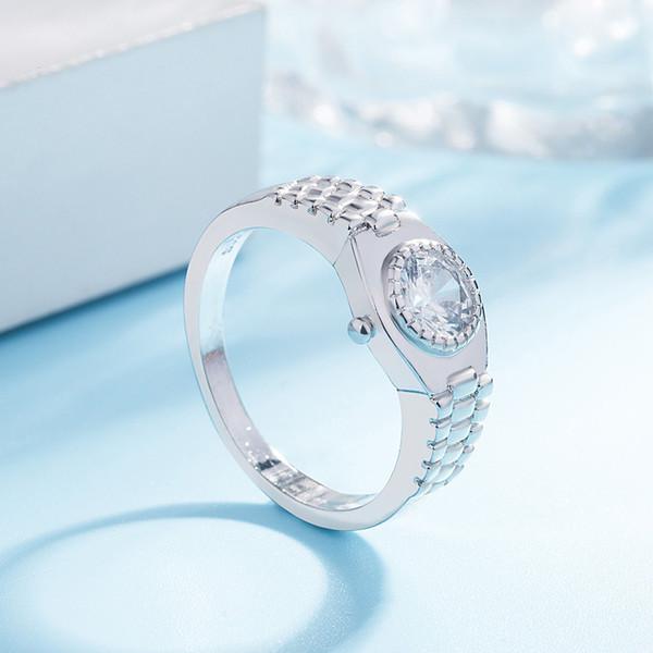 Women Stylish Minimalist Watch Ring Silver-plated Jewelry