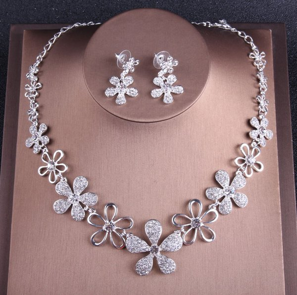 Sweet Silver Gold Bridal Jewelry Sets Necklace Earrings Bridal