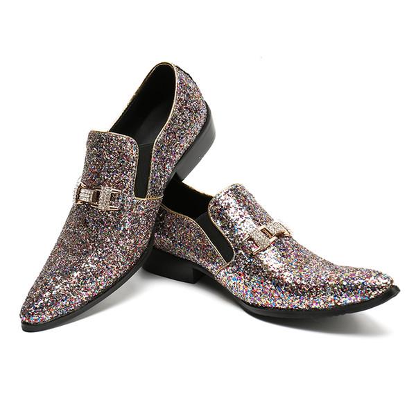 Luxury Men Party Wedding Handmade Loafers Glitter Men Dress Shoes Diamond Smoking Slippers Men's Flats Sequins Shoes Nightclub